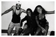 Patrick Kelly, Iman, Grace Jones & Naomi Campbell in 1989. Photo by Roxanne Lowit.