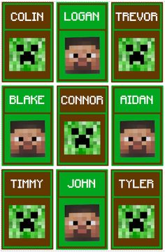 Personalized Minecraft Lanyard Inserts Gift Tags Digital Birthday Party Favors- Steve and Creeper.
