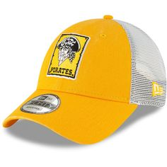 5d0322ef3c2 Men s Pittsburgh Pirates New Era Gold 1967 Cooperstown Collection Trucker  9FORTY Adjustable Snapback Hat