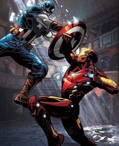 Captain America v Iron Man Comics Capitan America Marvel, Captain America Comic, Capt America, Iron Man Captain America, Marvel Avengers, Marvel Heroes, Arte Dc Comics, Marvel Comics Art, Iron Man Art