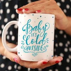 Such a cute xmas gift for the office=) YAY ETSY=D Baby It's Cold Outside Ceramic Mug by ClickandBlossom on Etsy