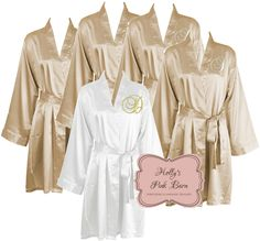 78c50365f1 Ships in 10 Business Days Free Shipping Available Bridesmaids Robes  Champagne Satin Personalized Set of 7