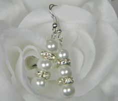 White Pearl and Crystal Bridesmaid Jewelry, White Pearl Drop Earrings Simple Pearl Earrings, Bridal Earrings, Triple Pearl Drop Earring - E3 by BridalTreasures4U on Etsy