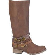 maurices Tiffany Boot With Straps In Brown ($59) ❤ liked on Polyvore featuring shoes, boots, brown, mid-calf boots, maurices, zip boots, brown strappy boots, small heel boots and brown mid calf boots