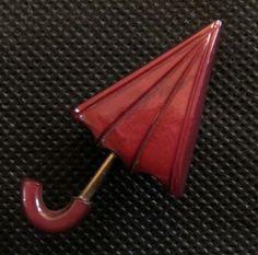 VINTAGE BAKELITE ART DECO  RED UMBRELLA BROOCH PIN. #Unbranded