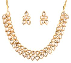 Touchstone Contemporary Kundan Collection Indian Bollywood traditional Mughal Kundan polki look neutral bridal designer jewelry necklace set for women in gold tone