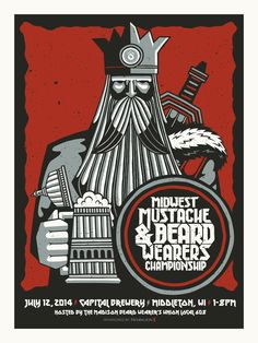 Midwest Beard Wearers Championship by John Vogl- A stout viking with art deco stylings stands like a stone with long flowing beard, sword and foamy mug of beer. This print commemorates the 2014 Midwest Beard Wearers Championship held in Middleton WI at the Capital Brewery on July 12th. Limited edition silkscreen art print artwork by famous artist John Vogl.
