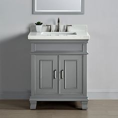 "Middleton 28"" Single Sink Vanity, Gray  Set includes Vanity base, countertop, sink and backsplash  Double thick counter edge  Quartz backsplash included  Single sink  Soft close hinges"