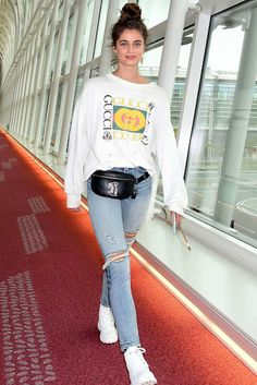 Taylor Hill: Arrives at Haneda Airport - GotCeleb Taylor Marie Hill, Casual Sweaters, My Outfit, Nice Dresses, Mom Jeans, Overalls, Victoria Secret, Classy, Celebs