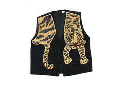 sequined tiger vest / black novelty vest / sparkly by AsburyHill