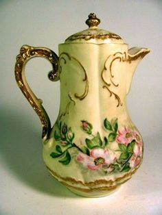GORGEOUS Hand Painted Limoges Chocolate Pot w Pink Flowers & Gold A fine hand painted Limoges chocolate pot with pink dogwood flowers, overall in very good condition, there is a hairline crack in . Pink Dogwood, Dogwood Flowers, Pink Flowers, Chocolate Pots, Chocolate Coffee, Teapots And Cups, Teacups, Limoges China, Antique Dishes