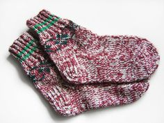 Hand Knitted Wool Socks  Cherry and Gray by UnlimitedCraftworks