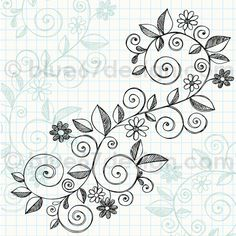Hand-Drawn Sketchy Notebook Doodle Vine with Flowers Vector Illustration by blue67 by blue67design, via Flickr