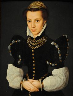 ▴ Artistic Accessories ▴ clothes, jewelry, hats in art - JCaterina van Hemessen | Portrait of a Young Lady, 1560
