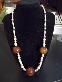 22 inch Amber Necklace with Mother of Pearl and Sterling Silver Beads
