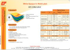 It is a co-extruded, both sides corona treated highly cavitated white opaque Bi-axially Oriented Polypropylene film.