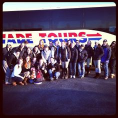 The Equestrian team in front of the bus.