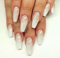 There are three kinds of fake nails which all come from the family of plastics. Acrylic nails are a liquid and powder mix. They are mixed in front of you and then they are brushed onto your nails and shaped. These nails are air dried. Holiday Nails, Christmas Nails, Christmas Glitter, Christmas Design, Acrylic Nail Designs, Nail Art Designs, Nails Design, Silver Nail Designs, Salon Design