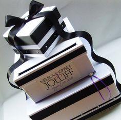 Wedding card box money holder black white by littledivine on etsy. Money Box Wedding, Card Box Wedding, Wedding Ideas, Wedding Fun, Crystal Brooch, Crystal Rhinestone, Gift Card Boxes, Money Holders, Shaped Cards