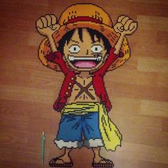 Monkey D. Luffy - One Piece perler beads by reginavllmr