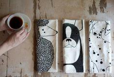 Screen Printed Dog Tea Towels//