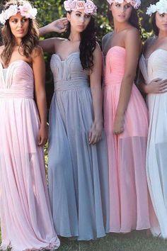 Casual Boho Strapless Ruching Bodice Long Chiffon Bridesmaid Dress