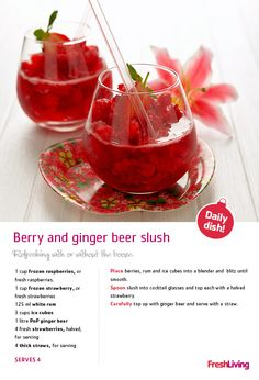 'Tis the season to be jolly… and how better to get jolly with a very #berry and #gingerbeer #slush! This delicious virgin cocktail can easily be spruced up with something a little stronger ;) #dailydish #xmas #cocktails #drinks #christmas #picknpay