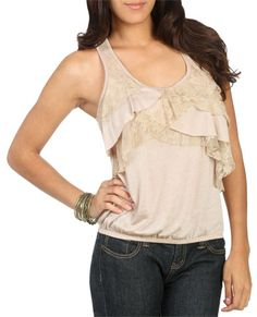 Asymmetrical Lace Tiered Tank - wet seal $19.50 not too shabby