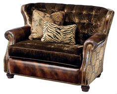 Leather and fabric tufted over-sized chair