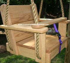 Our Hardwood Kids Seat Swings made with Hardwoods. Years of enjoyment will come from these tree swings. Awesome Woodworking Ideas, Woodworking For Kids, Cool Woodworking Projects, Woodworking Techniques, Teds Woodworking, Wood Swing, Diy Playground, Kids Swing, Tree Swings