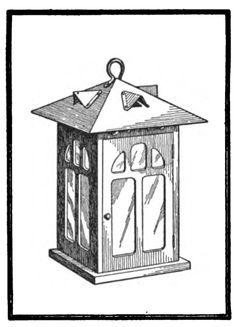 "Pretty porch light made from tin and wood. From ""Carpentry for Beginners"" by John Duncan Adams, 1917, page 204 for directions, diagrams. (Download the book here: http://books.google.com/books/download/Carpentry_for_Beginners.pdf?id=PgQKAAAAIAAJ)"