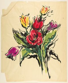 Marcel Vertès (French, 1895–1961). Design for a Scarf: Bouquet of Tulips, 1910-61. The Metropolitan Museum of Art, New York. Gift of Harvey Smith, 1985 (1985.1113.39) #spring