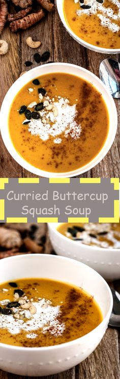 recipe for a creamy, spicy, healthy buttercup squash soup. Have it for lunch or a light dinner. Vegan friendly!