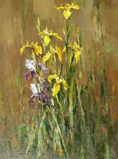 Irises - Alexi Zaitsev - Sale of paintings and other art works Iris Painting, Spring Painting, Acrylic Flowers, Abstract Flowers, Beautiful Drawings, Beautiful Paintings, Art History Major, Iris Art, Narcisse