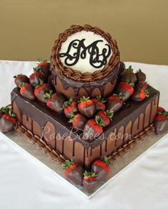 Double Dark Chocolate Groom's Cake with Chocolate Dipped Strawberries & Monogram