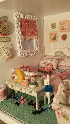 Shabby Chic miniature bedroom.