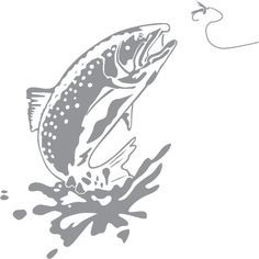 Glass etching stencil of Trout Jumping . In category: Fish & Marine