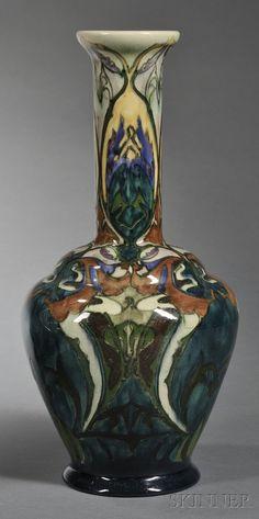 Gouda High Glaze Pottery Vase, Holland, c. 1908, PZH with polychrome decorated stylized foliate design.