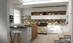 Wren Living - Shaker Kitchen in Super White Eggshell Modern Shaker Kitchen, Modern Country Kitchens, Home Kitchens, Colourful Kitchen Tiles, Kitchen Colors, Skandi Kitchen, Kitchen Wall Units, Kitchen Ideas, Wall Cupboards