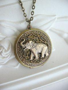 SALE Elephant LOCKET Elephant Jewelry Good Luck by CharmedValley, $32.00