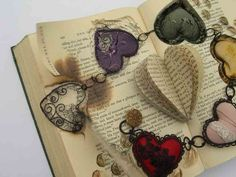 Whatever Happened to Our Love - altered book by Betty Pepper book arts hearts Altered Canvas, Altered Book Art, Book Page Art, Stitch Book, Book Sculpture, Old Jewelry, Jewelery, Album Book, Handmade Books