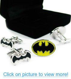 kilofly Cufflinks Combo [Set of 2 pairs] - Double Batman, with Velvet Gift Box