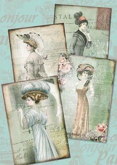 Transferencias de Tela Hierro En Hermosa Vintage Victoriano y Eduardiano 16 imágenes