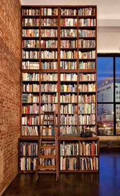 Office Workspace Advanced Bookshelf With Brick Expose Wall For Home Library Design Marvelous Home Libraries Design Home Library Design, Dream Library, House Design, Library In Home, Library Plan, Cozy Library, Mini Library, Attic Library, Beautiful Library