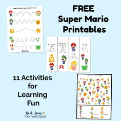 This free Super Mario Printables are awesome activities to enjoy learning fun wi… – family activities best pin Super Mario Free, Super Mario Party, Mario Crafts, Kid Crafts, Mario Birthday Party, 4th Birthday, Fun Activities For Kids, Family Activities, Preschool Activities