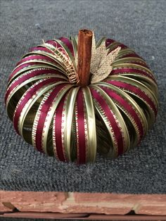Canning jar ring pumpkin with Burgandy picot lace and burlap leaves!
