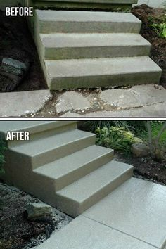 """Graniflex Steps and Sidewalk - Flexible Penetration Technology combined with Elongation Memory & Permanent Elongation is just a small part of why this premier coating is making both contractors and homeowners alike say . """"I Love GraniFlex""""! Painted Concrete Outdoor, Concrete Porch, Concrete Stairs, Painting Concrete, Concrete Front Steps, Cement Steps, Exterior Tiles, Exterior Paint, Concrete Repair Products"""