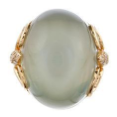HENRY DUNAY Cabochon Moonstone and Diamond Ring
