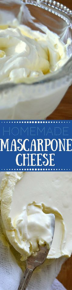 reamy homemade mascarpone cheese is easy and fun to make right in your own kitchen --- use it in all sorts of authentic Italian recipes, both sweet and savory --- and save a lot of money while you're (Cheese Making) Easy Cheese, How To Make Cheese, Food To Make, Home Made Cream Cheese, Cheese Recipes, Cooking Recipes, Just Desserts, Dessert Recipes, Mascarpone Cheese