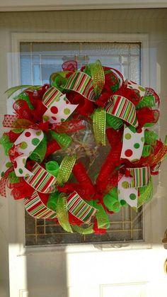 christmas wreath holiday wreath deco mesh wreath front door wreath christmas decor
